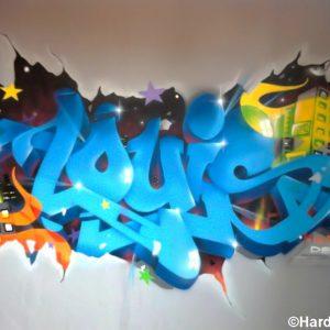 Le graffiti personnalisé dans la chambre de Louis