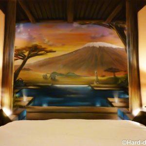 Trompe l'oeil tête de lit, savane africaine et Kilimandjaro