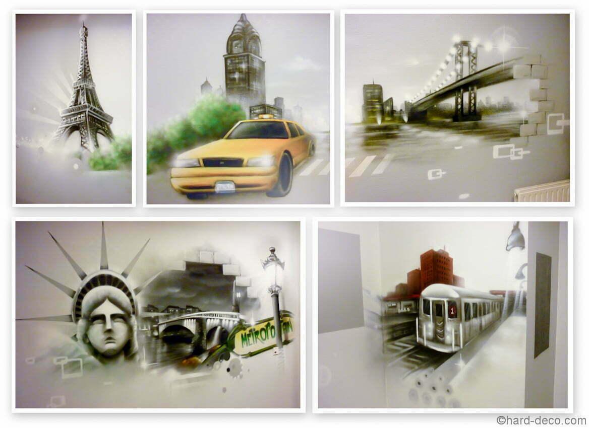 Vues sur les différentes zones de la fresque New York Paris