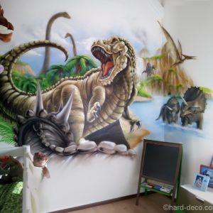Fresque sur le thème de la préhistoire en déco de chambre