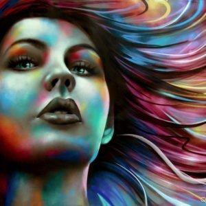 Portrait de femme sur toile pour une déco d'intérieur (2,5m x1,6m)