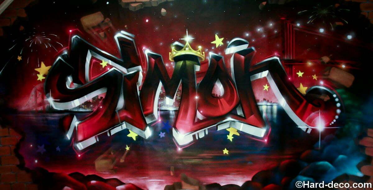 Toile graffiti pour la Bar Mitzvah de Simon