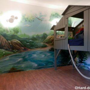 Paysage de jungle avec sa girafe pour une chambre d'enfant
