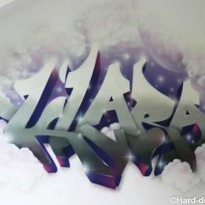 Prénom graffiti tout en douceur et en nuages pour la petite Klara