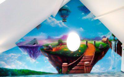 Fresque d'un paysage fantastique
