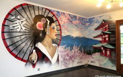 Geisha et mont Futji