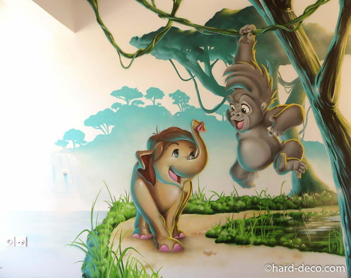 Deco Jungle Chambre Enfant fresque-murale-graffiti-chambre-enfant-jungle-elephant-singe
