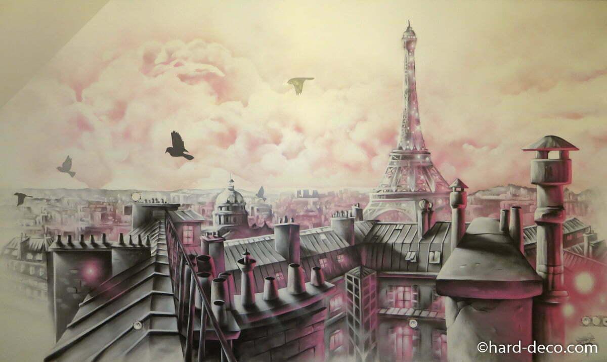 fresque-murale-graffiti-chambre-enfant-paris-girly  Hard Deco