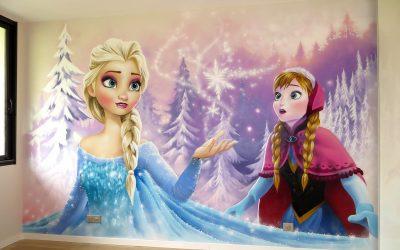 Fresque murale La Reine des Neiges