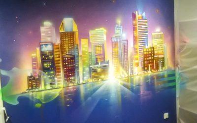 Ville de New York et ses lumières colorés