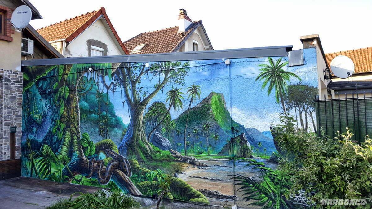 Mur de jardin thème jungle