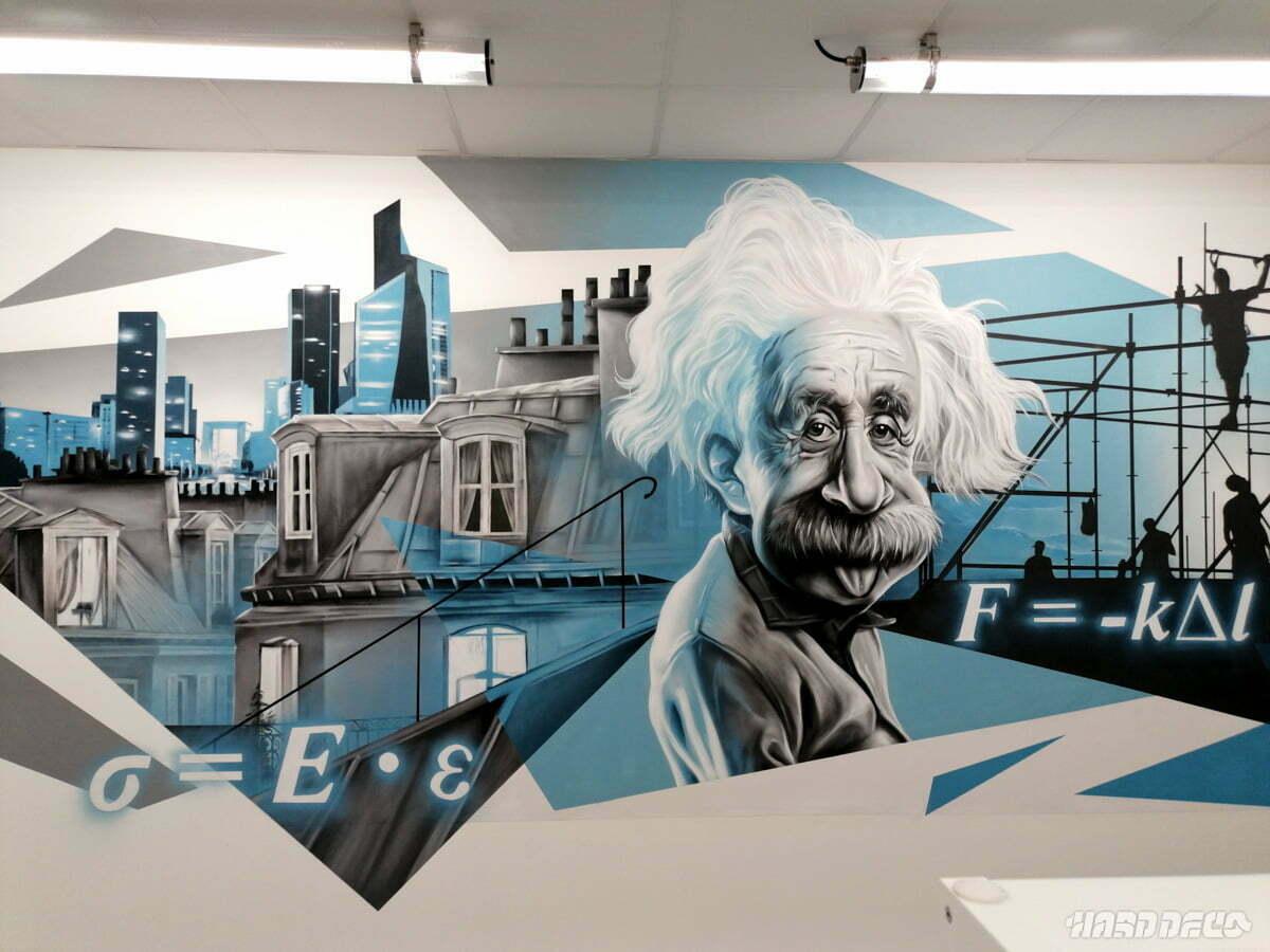 Fresque murale décorative avec un portrait d'Albert Einstein