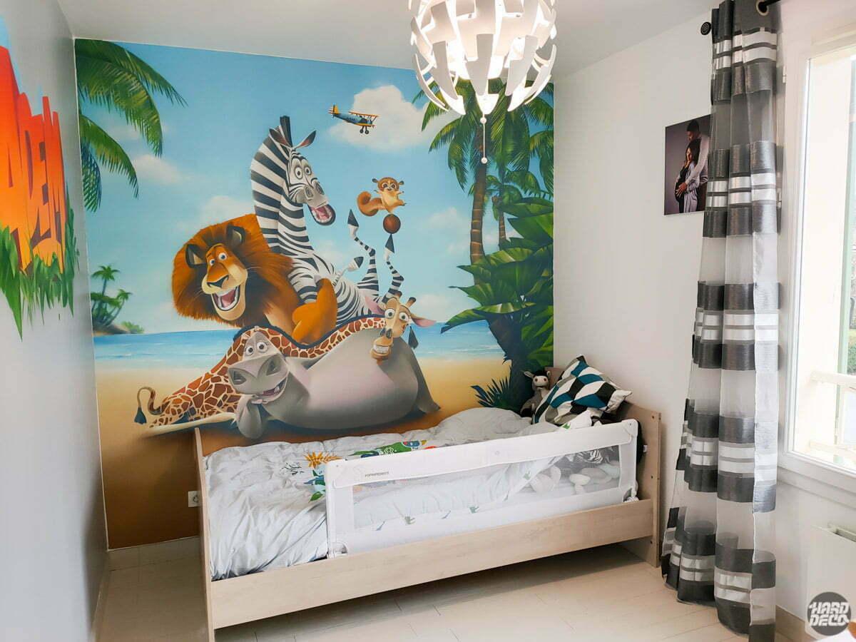 Chambre décorée sur le thème de Madagascar